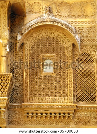 "Palace of the Maharajah in Jaisalmer, the magnificent ""Golden City"" in the heart of Rajasthan (India), surrounded by the desert of Thar"