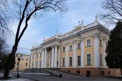 Palace of the Rumyantsevs and Paskevichs. Gomel palace and park ensemble in winter named after Lunacharsky. Gomel. Belarus. Winter in the Gomel park. Museum. Sights of Gome