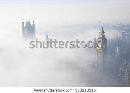 Palace of Westminster in fog, bird\'s eye view, seen from the sky