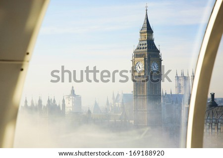 Palace of Westminster in fog seen from London Eye