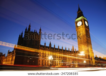Palace of Westminster, seen from Westminster Bridge, at Night #247208185