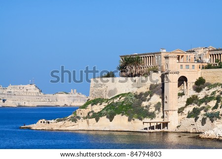 Palaces at Kalkara town from creek. Malta - stock photo