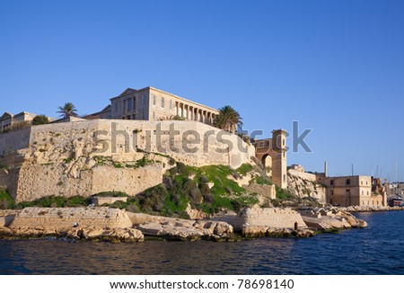 Palaces of Kalkara from Grand Harbour. Malta