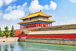 Palaces, pagodas on  the territory of the Forbidden City Museum in Beijing -in the heart of city,China.