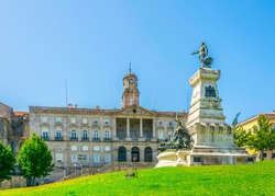 Palacio da Bolsa and statue of Infante Dom Henrique in Porto, Portugal.