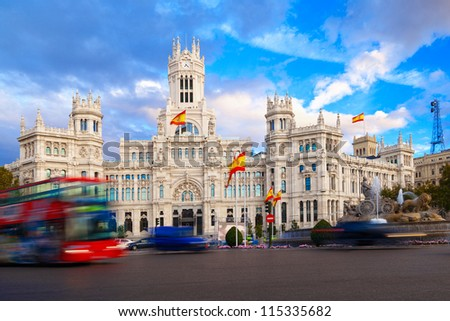 Palacio de Comunicaciones and Cibeles Fountain, Madrid, Spain