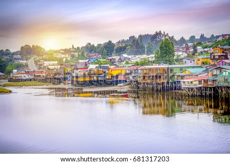 Shutterstock Palafitos in Castro. Castro is the capital of Chiloe Province, in the Los Lagos Region, Chile. Palafitos are houses raised on piles over the surface of the soil or a body of water