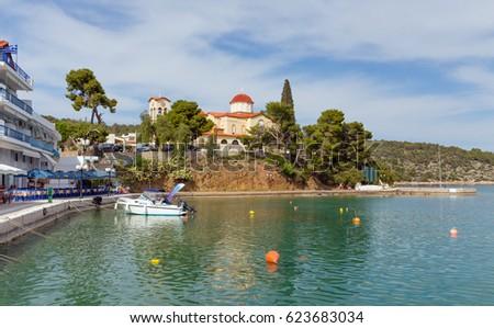 Palaia Epidauros village waterfront, Peloponnese, Greece