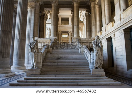 Palais de Justice (Justice Court) in Brussels, Belgium. - stock photo