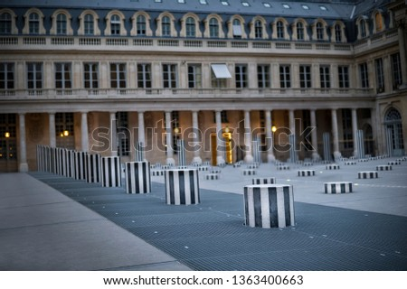 Palais-Royal (1639), originally called Palais-Cardinal, it was personal residence of Cardinal Richelieu in Paris. Columns Buren (1985)