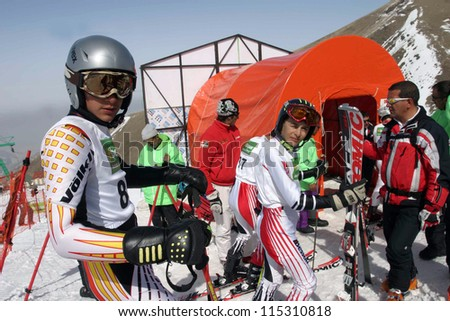 PALANDOKEN, TURKEY - MARCH 08: Sportsman preparing to race at Turkey young ski championships on February 08, 2008 in Erzurum, Turkey. Palandoken is known as the best mountain in Turkey for skilled skiers