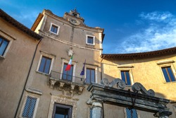 Palazzo Colonna Barberini, built on the ancient ruins of the ancient roman sanctuary of Fortuna Primigenia near Rome, Palestrina, Lazio, Italy