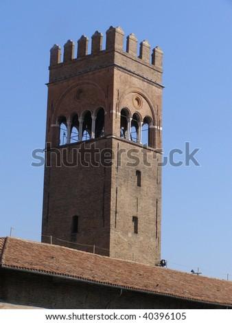 palazzo del podesta medieval tower in Bologna - stock photo