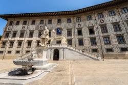 Palazzo della Carovana or dei Cavalieri. Ancient palace, building of the University (Scuola Normale Superiore di Pisa), in Piazza dei Cavalieri (Square of the Knights), Tuscany, Italy, Europe