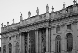 Palazzo Madama Royal palace in Piazza Castello in Turin, Italy in black and white