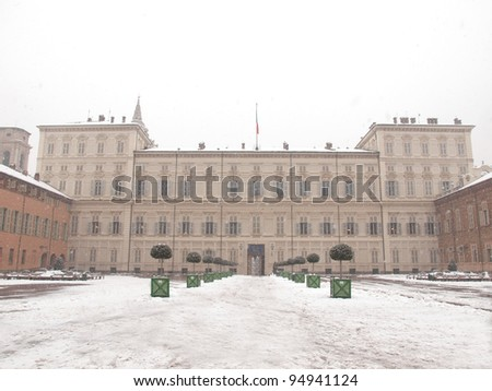 Palazzo Reale (The Royal Palace) in Turin Italy - winter view with snow