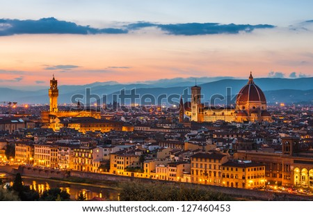 Palazzo Vecchio and Cathedral of Santa Maria del Fiore (Duomo) at dusk, Florence, Italy