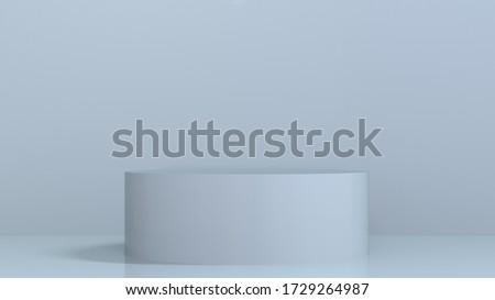 Pale blue 3D render illustration background of pedestal podium. Great background frame to showcase your product design. Classy and elegant monochrome design.