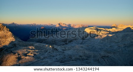 Pale di San Martino plateau at sunset, Primiero, Dolomiti, Italy