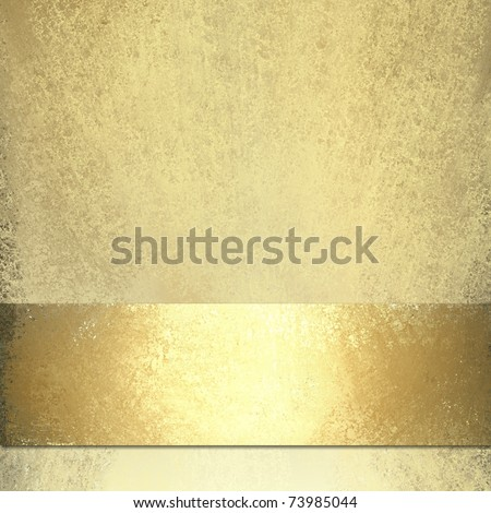 pale gold background design layout with shiny gold bronze ribbon stripe on bottom edge, soft grunge sponge texture, highlights, and copy space for title or text