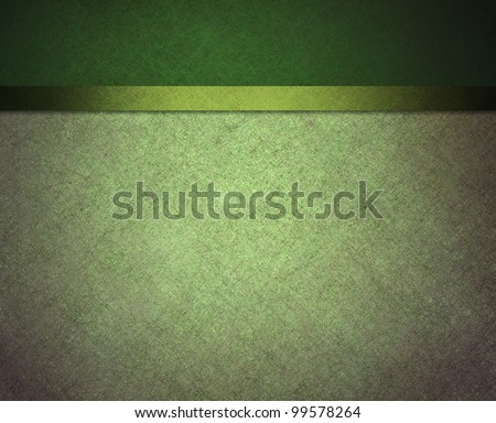 pale light and dark green background with banner side bar and ribbon stripe in website template layout or formal classic menu backdrop with copyspace for St. Patricks day