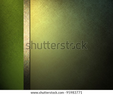 pale light and dark green background with yellow gold highlight and ribbon stripe in website template layout or formal classic menu backdrop with copyspace for St. Patricks day