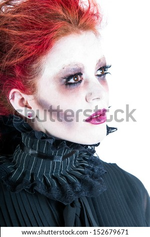 Pale white face of a victorian ghost woman isolated against a white background.