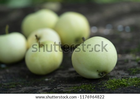 Pale yellow apples on a dark wooden surface.Pale yellow apples on a dark old  wooden table. #1176964822