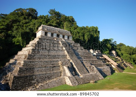 Palenque mayan ruins-monuments Chiapas Mexico - stock photo