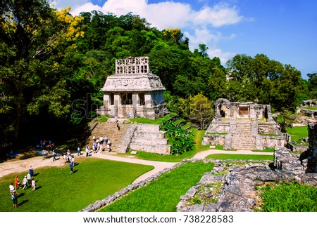 Palenque, Mexico. Mayan ruins in Palenque, Chiapas, Mexico. Palace and observatory. It is one of the best preserved sites, which contains interesting architecture and is popular tourist attraction