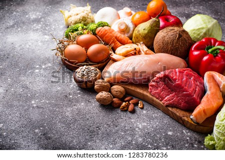 Paleo diet. Healthy high protein and low carbohydrate products #1283780236