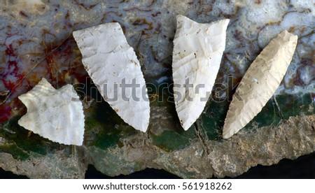 Paleo midwestern arrowheads made 7000 to 8000 years ago found near Pettis, Missouri.