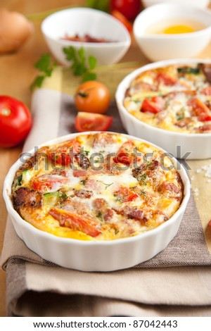 Paleo Style Frittata with Fresh Vegetables and Bacon