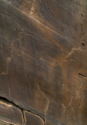 Paleolithic engravings of paleolithic rock art at open-air in Piscos valley within Coa Valley in Portugal, Europe, Worl Heritage Site by the Unesco