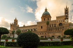 Palermo Cathedral (Cattedrale di Palermo) at the sunset, Sicily