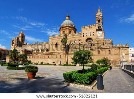 Palermo, Sicily. Cathedral of Palermo is an architectural complex in sicilian capital city, church erected in 1185 by Normans, Italy landmark.