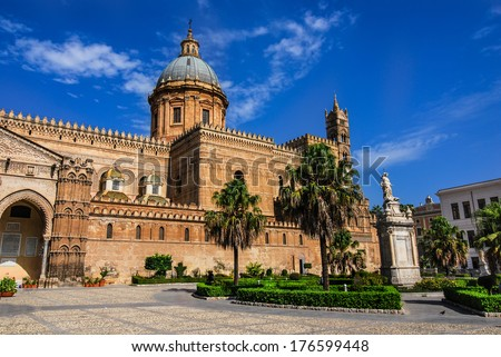 Palermo, Sicily. Cathedral was built in Norman structure in 1179. Santa Maria Assunta Cathedral, landmark of Italy.