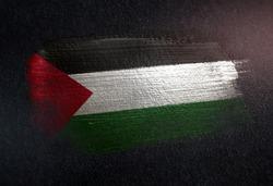 Palestine Flag Made of Metallic Brush Paint on Grunge Dark Wall