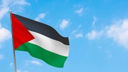 Palestine flag on pole. Blue sky. National flag of Palestine