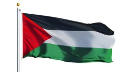 Palestine flag waving on white background, close up, isolated with clipping path mask alpha channel transparency