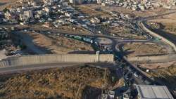 Palestine Hizma Town with Idf Military Checkpoint,Aerial view Hizma Town Surrounded by Securty wall in North Jerusalem