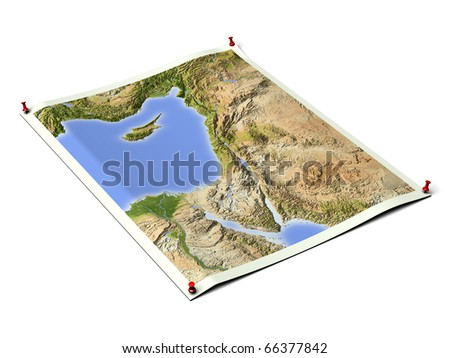 Palestine on unfolded map sheet with thumbtacks. Map colored according to vegetation. Includes clip path for the background.