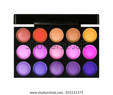 palette of color eyeshadows isolated on white - stock photo