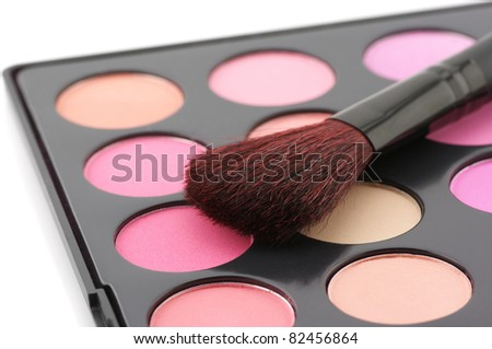 Palette of colorful blushes and brush on white background.
