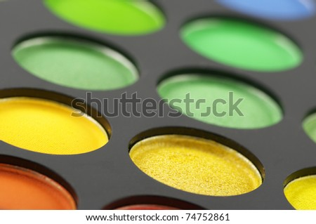 Palette of colorful eye shadow close-up. Full frame. #74752861