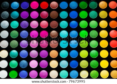 Palette of colorful eye shadows with brash