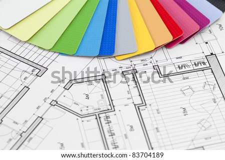 palette of colors designs for interior works & architectural drawings