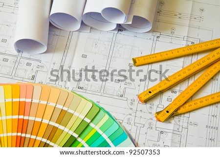 Palette of colors designs on architectural drawings, blueprint