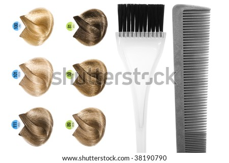 stock photo : Palette of hair color sample and hairdresser's tools