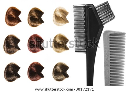 Palette of hair color sample and hairdresser's tools